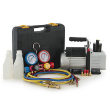 4-Way 4-Valve Manifold Gauge 4Hose Professional AC/HVAC 5CFM Vacuum Pump 1/2HP