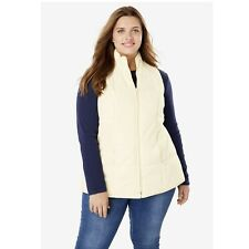 Woman Within Quilted Vest, Ivory, Size 1X (22/24) NEW $45