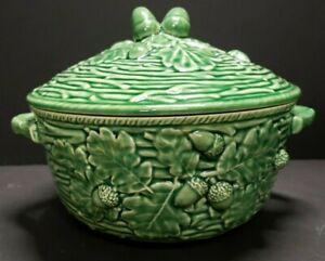 Bordallo Pinheiro Green Ceramic Acorn And Twig Round Casserole & Lid Portugal
