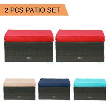 2 PCS Ottoman Patio Outdoor Wicker Rattan Furniture Foot Stool Cushions Sofa New
