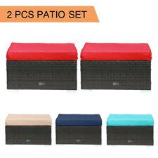 2 PCS Ottoman Patio Outdoor Wicker Rattan Furniture Foot Stool Cushions Sofa New