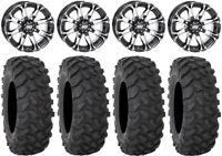 """STI HD3 14"""" Wheels Machined 28"""" XTR370 Tires Kawasaki Mule Pro FXT"""