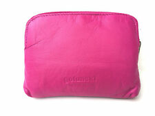 Small Super Soft Leather Credit Card Holder Coin Zip Purse in 9 Colours Bright Pink