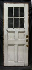"""32""""x82""""x1.75 34; Antique Vintage Old Solid Wood Wooden Door 6 Window Beveled Glass"""