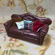 Pat Tyler Dollhouse Miniature Leather Sofa Couch Lounge Divan W/Pillows Brown