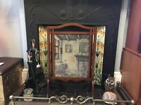Edwardian Tapestry Embroidered Oak Fire Screen Retro Vintage Large Woman Retro