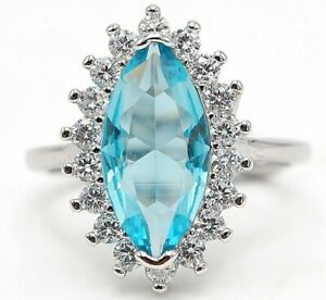 4CT Aquamarine & Topaz 925 Solid Sterling Silver Ring Jewelry Sz 8 M15