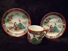 PRETTY EARLY 1900'S HAND PAINTED CHINESE TEACUP AND TWO SAUCERS RED CIRCLE MARK