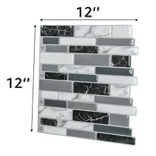 """Art3d 12""""x12"""" Peel and Stick Backsplash Tile for Kitchen, Marble Grey"""