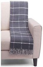 "Roca Home Portugal Windowpane Crosshatch Fringed Throw Blanket Grey Ivory 50x67"""