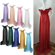 Maternity Ruffled Long Dress Maxi Chiffon Pregnant Women Photography Gown Party