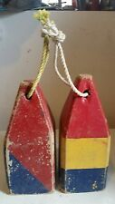 "Vintage Wood maritime lobster pot crab trap nautical marker buoy float 12"" tall"