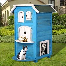 Cat Pet Wooden House Bed Shelter Condo Indoor Outdoor Kitten Furniture Blue