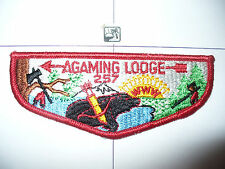 OA Agaming Lodge 257,S2,1960s Bear HOR WHT Flap,16,Indianhead Council,St Paul,MN