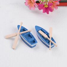 Lot 1Pcs Boat+2pcs Oar House Miniatures Garden Decor crafts Bonsai Decoration