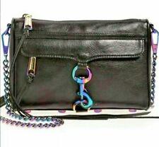 REBECCA MINKOFF Rainbow Black Leather Mini MAC Oil-Slick Iridescent Crossbody