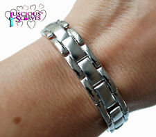 MENS SUPER STRONG BIO MAGNETIC SILVER MATT & SHINY ALLOY HEALING BRACELET NEW