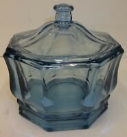 Vintage Indiana Glass Translucent Concord Blue Octagonal Lidded Candy Dish Box