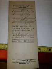 1893 MORTGAGE Document Scott county Indiana Scottsburg  Ray Hougland memorabilia