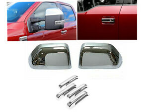 For 2017-2020 FORD F250 F350HD SuperDuty Chrome Top Half Mirror+Handle Cover