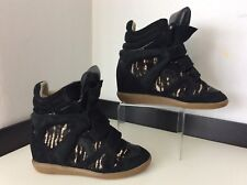 Isabel Marant Black Beckett  Size 38 Uk 5 Wedge Sneakers Boots Pony Hair Print
