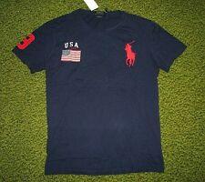 Men's $60 (M) POLO-RALPH LAUREN Navy USA FLAG & BIG PONY T-Shirt (Custom Fit)