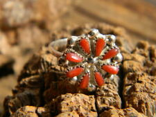 red coral size 5 or 6 Sterling silver Zuni artist made ladies 8