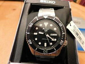 Seiko 5 Sport Mens SRPD55 Black Dial Automatic Stainless Steel Watch NWB
