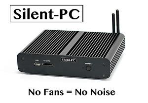 Silent-PC Fanless Quiet Mini HTPC IPTV Desktop Computer, Intel Core i77500u