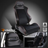 [Passenger Side] Leather JDM Red Stitch PVC/Suede Recaro Style Racing Seat