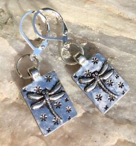 ADORABLE Dragonfly Sterling Silver Plated Leverback Earrings Sundance Arti Fly