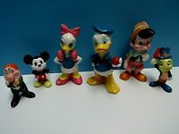VTG LOT 6 DISNEY CERAMIC GRUMPY, JIMINY, MICKEY, DAISY, DONALD, PINOCCHIO -JAPAN