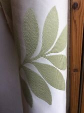 7.36m Cream Green Leaf Designer Jacquard Flame Retardant Upholstery Fabric