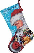 "Needlepoint Christmas STOCKING KIT Santa and Toys Dimensions 16"" Long"
