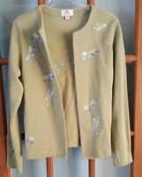 Quacker Factory XS Green Dragonfly Theme Twinset Sweater Long Sleeve