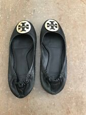 ca62474b3c2 Tory Burch authentic black leather flats shoes with gold emblem