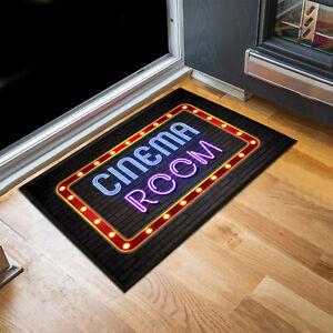 Cinema Room Movie Film retro neon lights effect Door mat 60 x 40 cm room mat