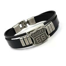ROUTE 66 LEATHER BRACELET IN BLACK **UK SELLER** BIKER MEN WOMAN