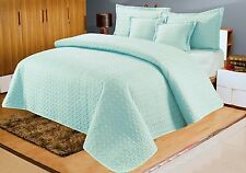 Cotton Sateen Embossed Bedspread With 2 Pillowshams & 2 Cushion Shams Duck Egg Blue