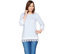 Denim & Co. Stripe Printed 3/4 Sleeve Knit Top with Lace Trim Blue Haze Size S