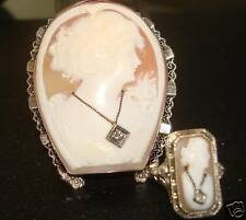 VINTAGE  LG CAMEO 14KT WH GOLD & MATCHING RING $1890.00