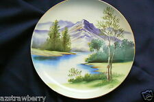 Vintage Hand Painted Mountain River Tree Wall Decorative Collectors Plate Japan