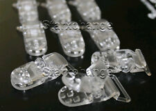 10 CLEAR BABY PACIFIER BADGE D PLASTIC CLIPS BIB MEMO HOLDER SUSPENDER