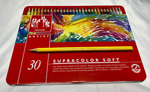 🌈Caran D'ache Supracolor Soft 30 Water Soluble Color Pencils Swiss Made. New!!