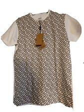 Burberry Mens Tee Shirt 100% Cotton Printed T Shirt White/Gray Medium
