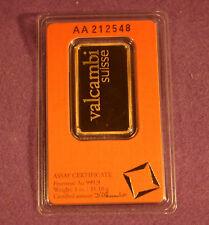 1 troy oz Valcambi Suisse .9999 Fine Gold Bar Sealed In Assay
