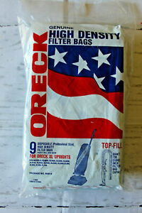 Oreck 9 Genuine High Density Filter Bags For XL Uprights Top Fill Sealed New