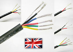 Flexible 2/3/4/5/6 Multicore Cable AWG Black Signal Power Auto Data Car Wire UK