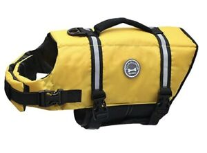 Vivaglory Dog Life Jacket Safety Vest Rescue Handle Neon Yellow/Black Large NWT
