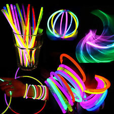 "100x 8"" Glow Fluo Stick Lumière Bracelet Collier Lumineux Glowing Party Disco NF"
